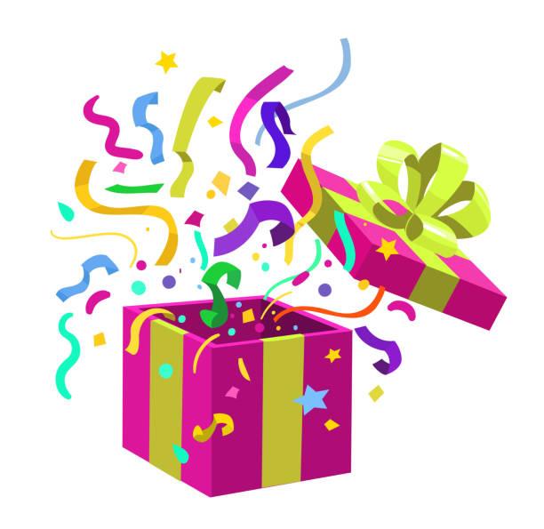 Open gift box. Surprise inside. Vector